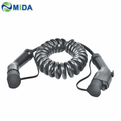 16A 32A Type 1 to Type 2 EV Spring Coiled Cable Electric Car Vehicle for EV Charging Station
