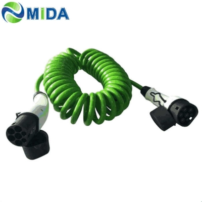 16A /32A Three Phase Type 2 to Type 2 EV Spiral Cable for Electric Car Charging