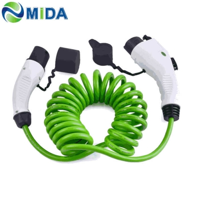16A 32A J1772 Type 1 to Type 2 EV Charger Cable EVSE Sprial Cable